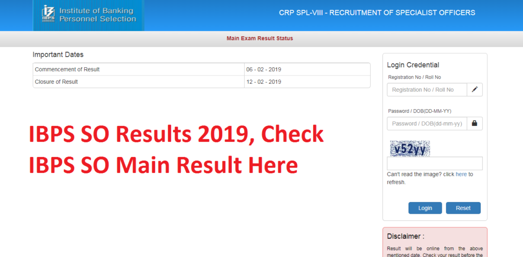 IBPS SO Results 2019, Check IBPS SO Main Result Here