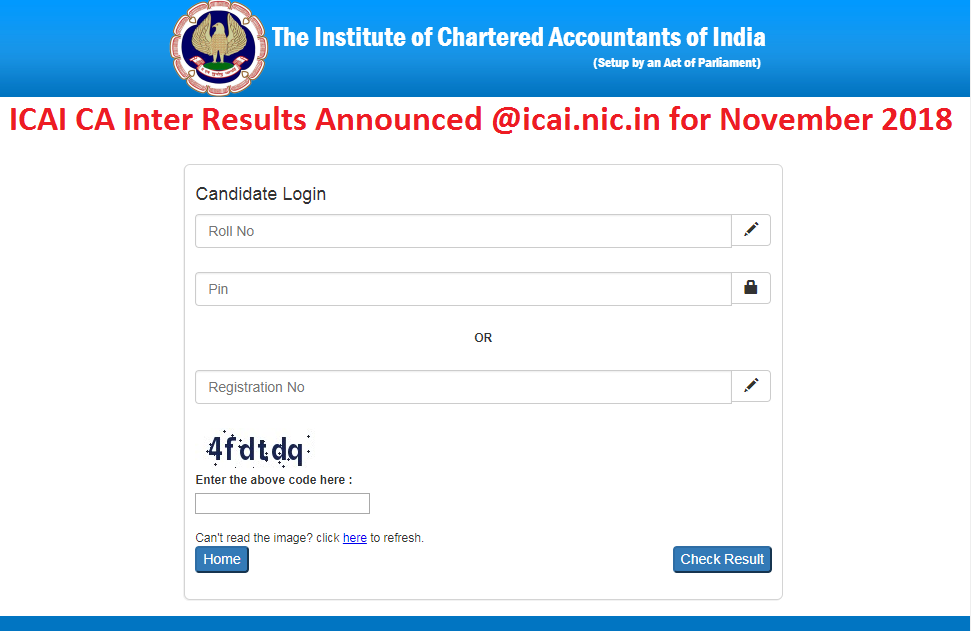 ICAI CA Inter Results Announced @icai.nic.in for November 2018
