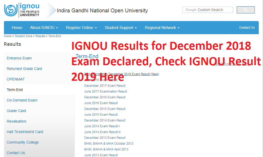 IGNOU Results for December 2018 Exam Declared, Check IGNOU Result 2019 Here