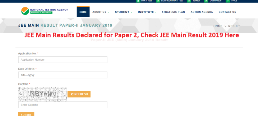 JEE Main Results Declared for Paper 2, Check JEE Main Result 2019 Here