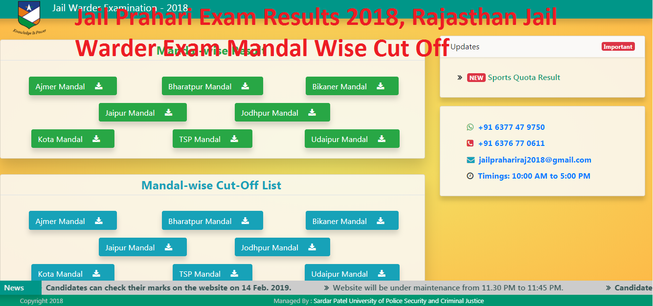 Jail Prahari Exam Results 2018, Rajasthan Jail Warder Exam Cut Off Mandal Wise