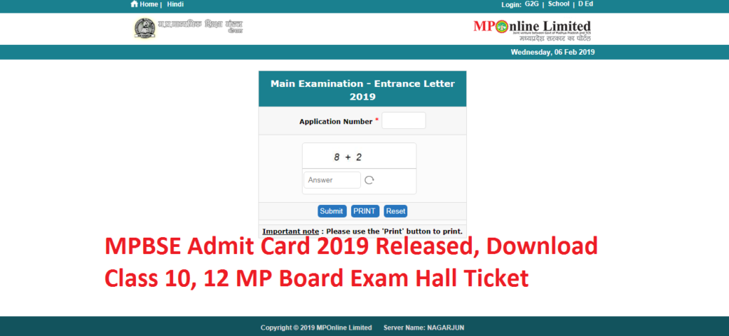 MPBSE Admit Card 2019 Released, Download Class 10, 12 MP Board Exam Hall Ticket