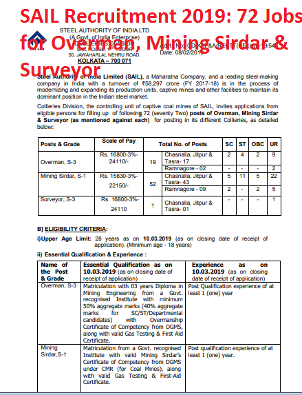 SAIL Recruitment 2019: 72 Jobs for Overman, Mining Sirdar & Surveyor