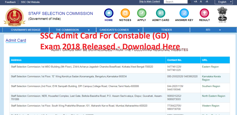 SSC Admit Card For Constable (GD) Exam 2018 Released - Download Here