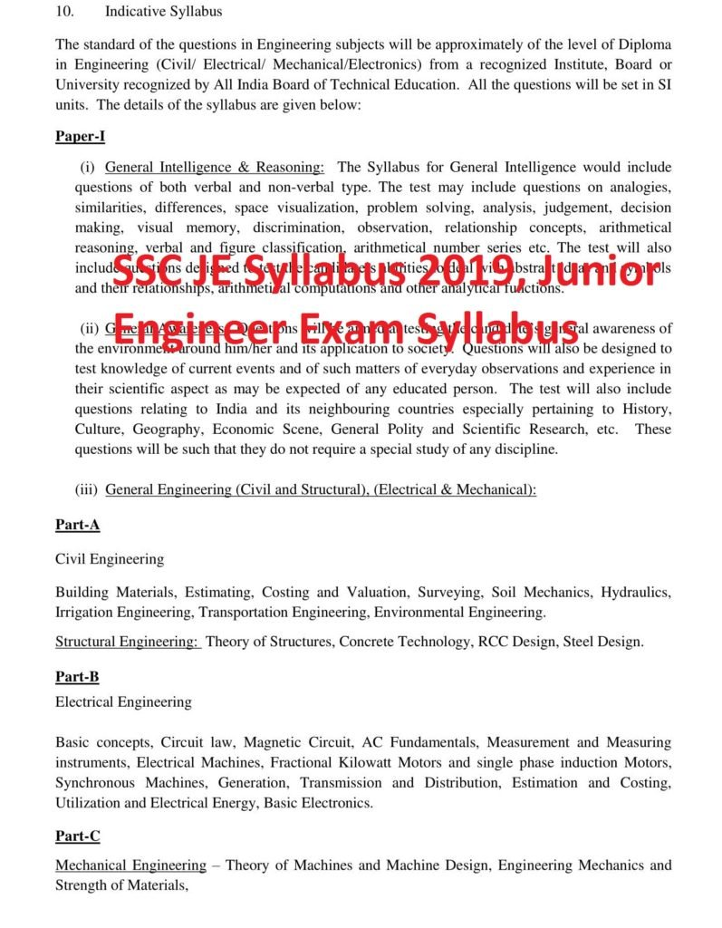 SSC JE Syllabus 2019, Junior Engineer Exam Syllabus