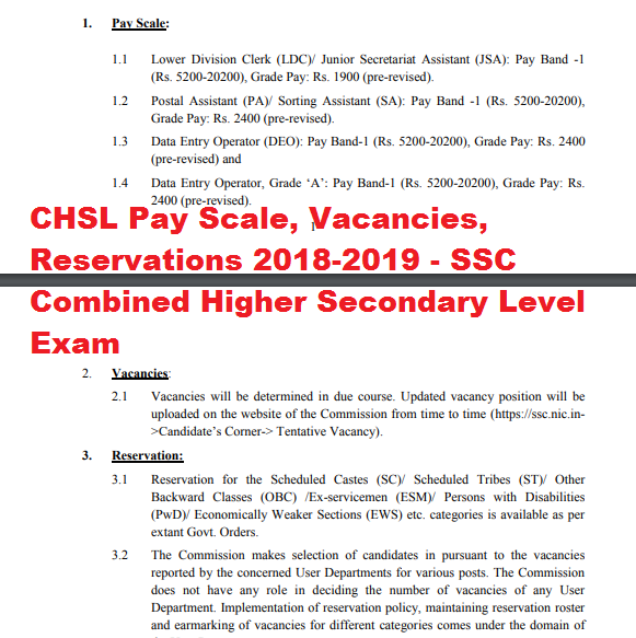 CHSL Pay Scale, Vacancies, Reservations 2018-2019 - SSC Combined Higher Secondary Level Exam