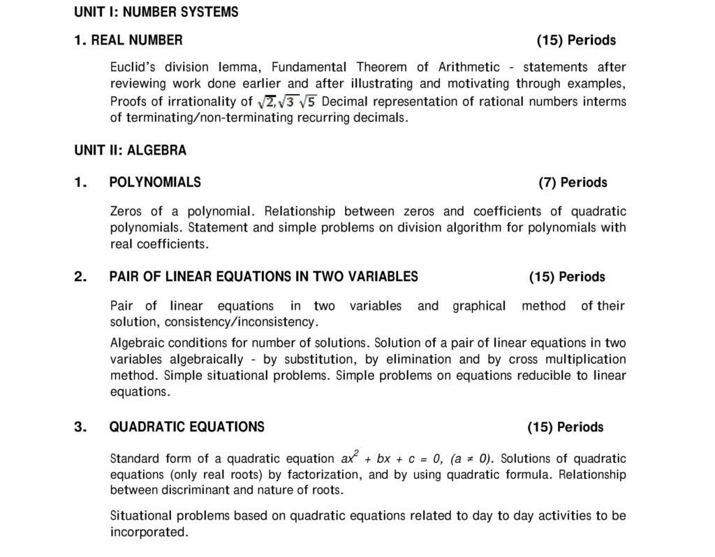 Maths CBSE Syllabus Class 9 - 10 2019 - 2020