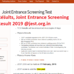 JSET Results, Joint Entrance Screening Test Result 2019 @jest.org.in
