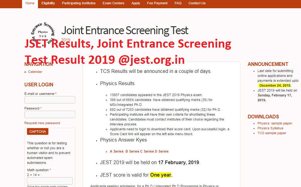 JSET 2019 – Joint Entrance Screening Test Physics & TCS Results, Answer Keys, Fees, Eligibility Criteria, Participating Institutes, Exam Centers