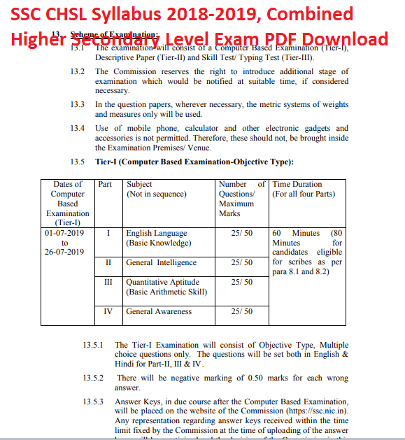 SSC CHSL Syllabus 2018-2019, Combined Higher Secondary Level Exam PDF Download