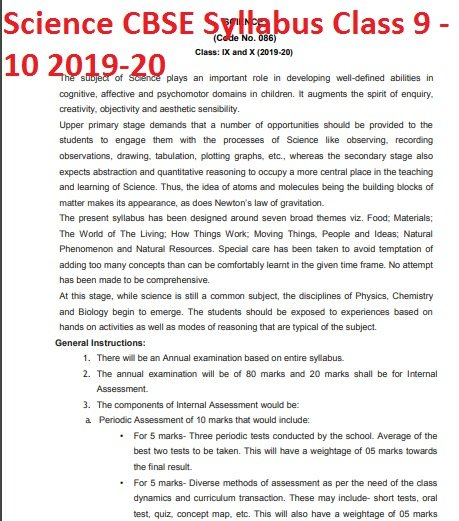 Science CBSE Syllabus Class 9 - 10 2019 - 2020