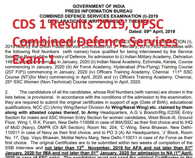 CDS 1 Results 2019, UPSC Combined Defence Services Exam 1