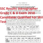 SSC Results Stenographer Grade C & D Exam 2018 - Candidates Qualified For Skill Test