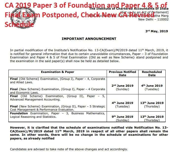 CA 2019 Paper 3 of Foundation and Paper 4 & 5 of Final Exam Postponed, Check New CA Revised Schedule