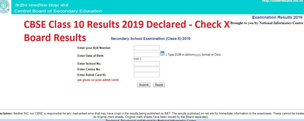 CBSE Class 10 Results 2019 Declared - Check X Board Results