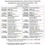 AP Board Intermediate Time Table 2020 (Class 11, 12), 1st - 2nd Year Andhra Pradesh DateSheet For Board Exams 2020