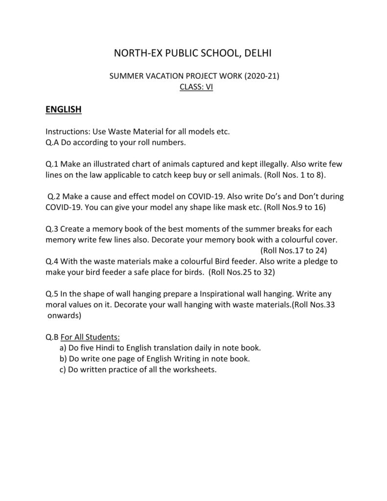 Summer Vacation Holiday Homework for Class 6