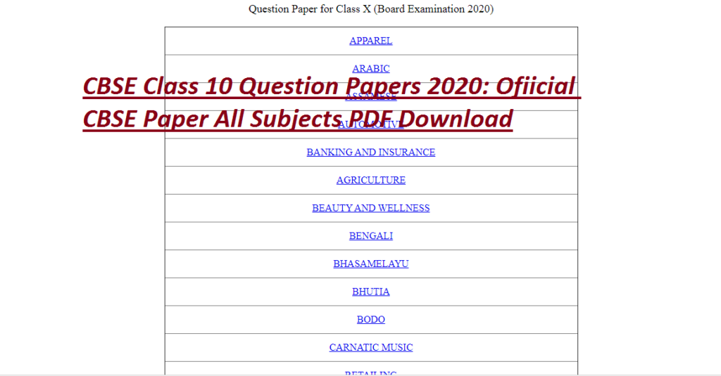 CBSE Class 10 Question Papers 2020: Ofiicial CBSE Paper All Subjects PDF Download