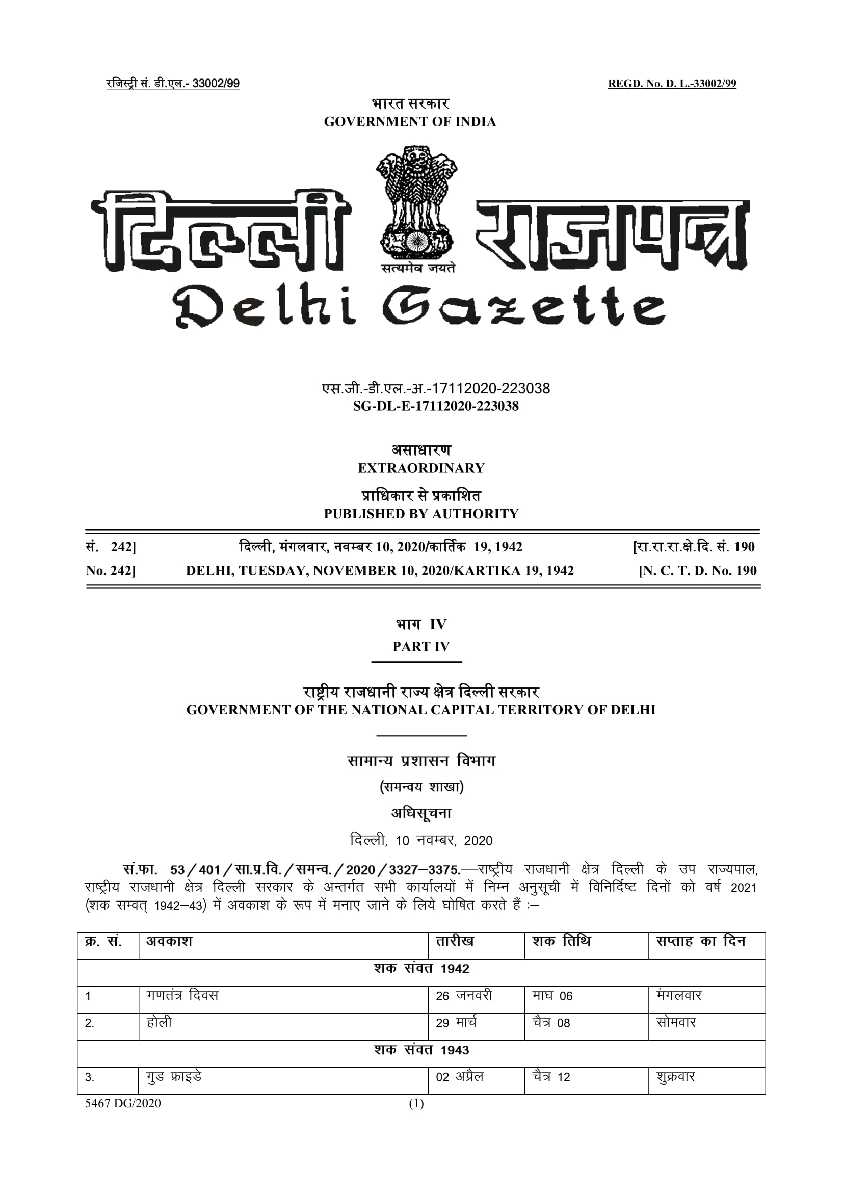List Of Holidays 2021- Delhi Government, Private Offices-1