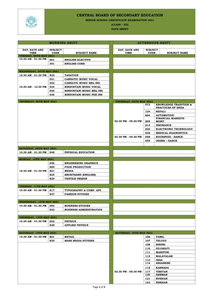 CBSE DateSheet 2021 Class 12 - CBSE Date Sheet
